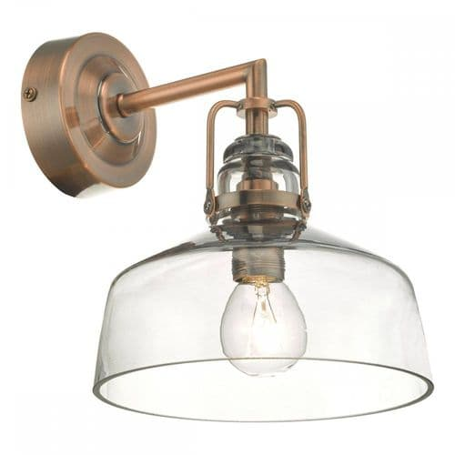 Dar MIL0764 Miles Wall Light Antique Copper Smoked Glass